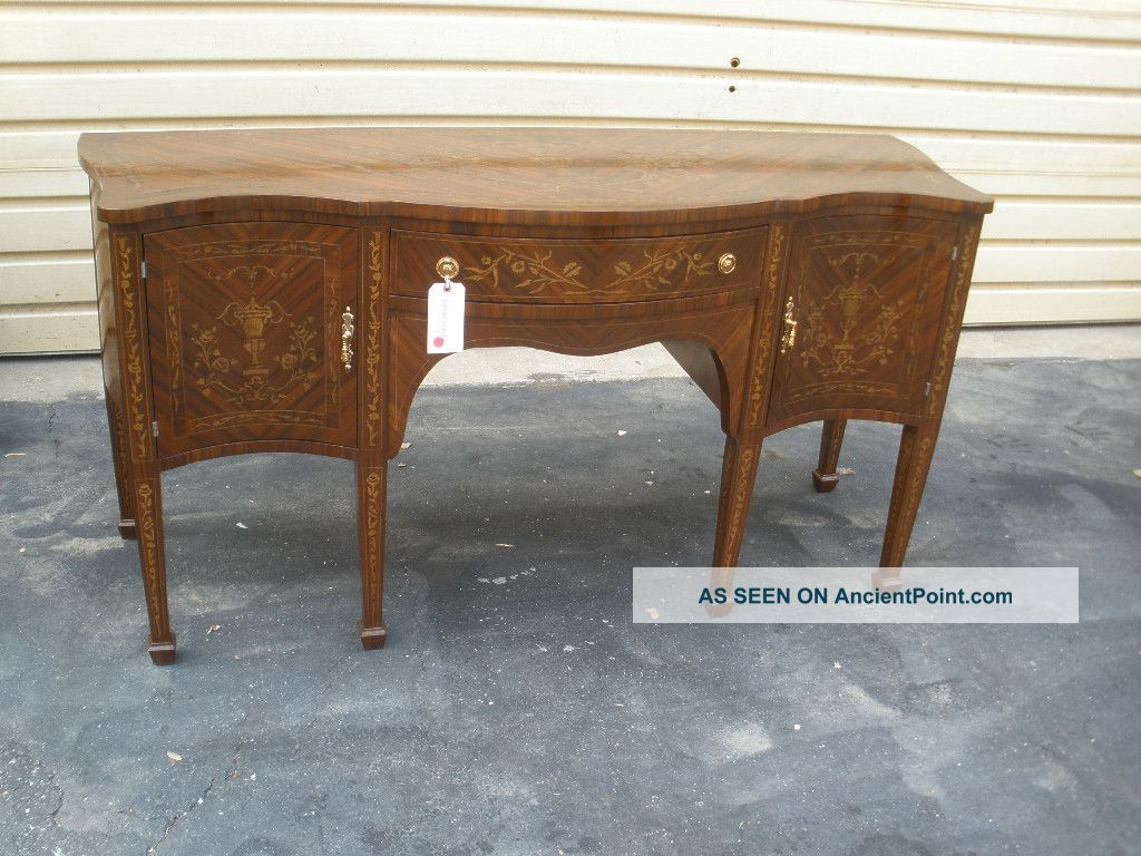 45152 Inlaid Floral And Urns Regency Style Sideboard Buffet Post-1950 photo