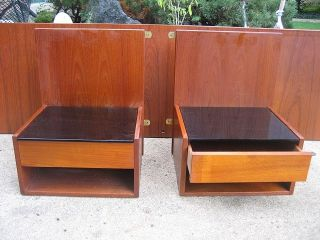 Danish Modern Teak Bed Sidetables By Hans Wegner photo