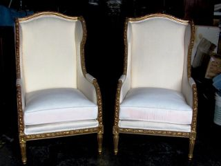 Pr.  Large Gilt Wood Louis Xvi Wing Chairs photo