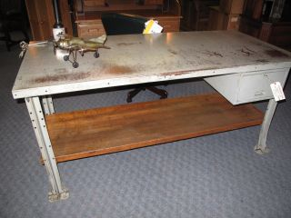Industrial Desk Vintage Work Suface Stand Up Desk photo