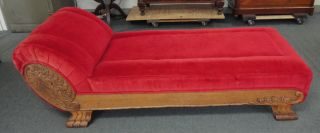 Antique Victorian Oak Fainting Couch Sofa Day Bed With Lions Paw Claw Feet photo