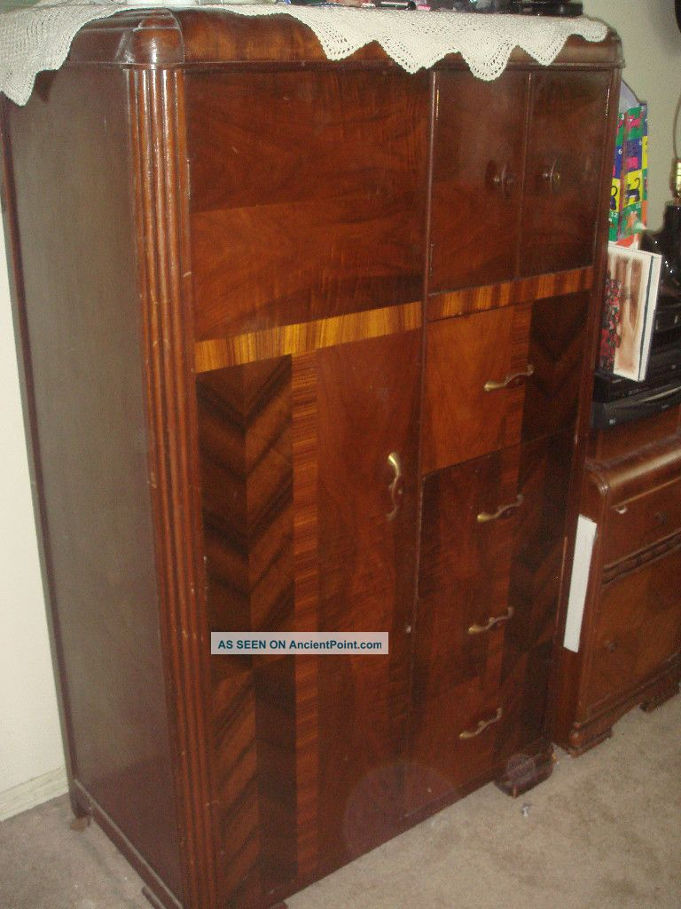 Vintage 1930 Art Deco Bedroom Waterfall Furniture Armoire Closet