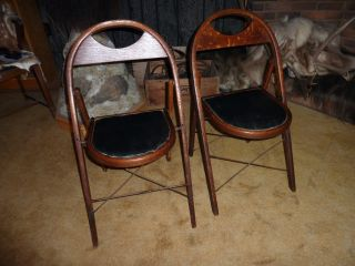 2 Wooden Folding Chairs J.  P.  Redington Company Challenger Chair Scranton,  Pa photo