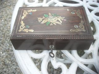 Victorian Edwardian Brass And Enamel Inlay Wooden Jewelery Or Trinket Box photo