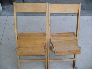 2 Vintage Solid Wood Folding Chairs Retro Decorative Accent Church School photo