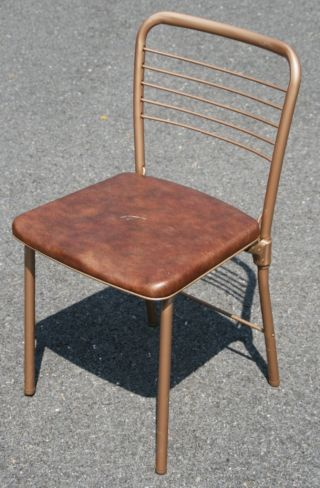 Vtg Cosco Hamilton Folding Chair Retro Metal Vinyl Dining Mid Century Modern 60s photo