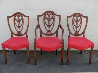 Set Of 8 Antique Hepplewhite Mahogany Dining Chairs Circa 1880 photo