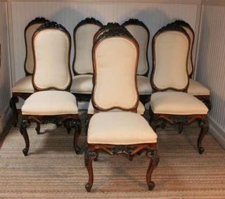 8 Antique Baroque Style Vtg Carved & Decorated Dining Room Chairs Karges Quality photo