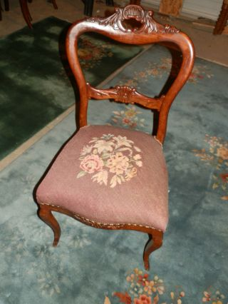 Antique Victorian Carved Needlepoint Chair photo