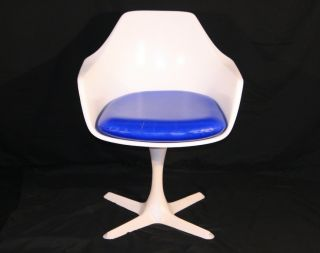 Single Mid Century Modern Burke Tulip Propeller Base Arm Chair Saarinen Style photo