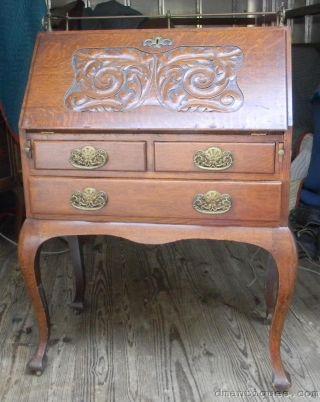 Antique C1890 Victorian Oak Carved Ladies Slant Front Writing Desk Paine Boston photo