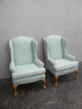 Pair Of Tall Living Room Queen Anne Wing Chairs By Sam Moore 2690 photo