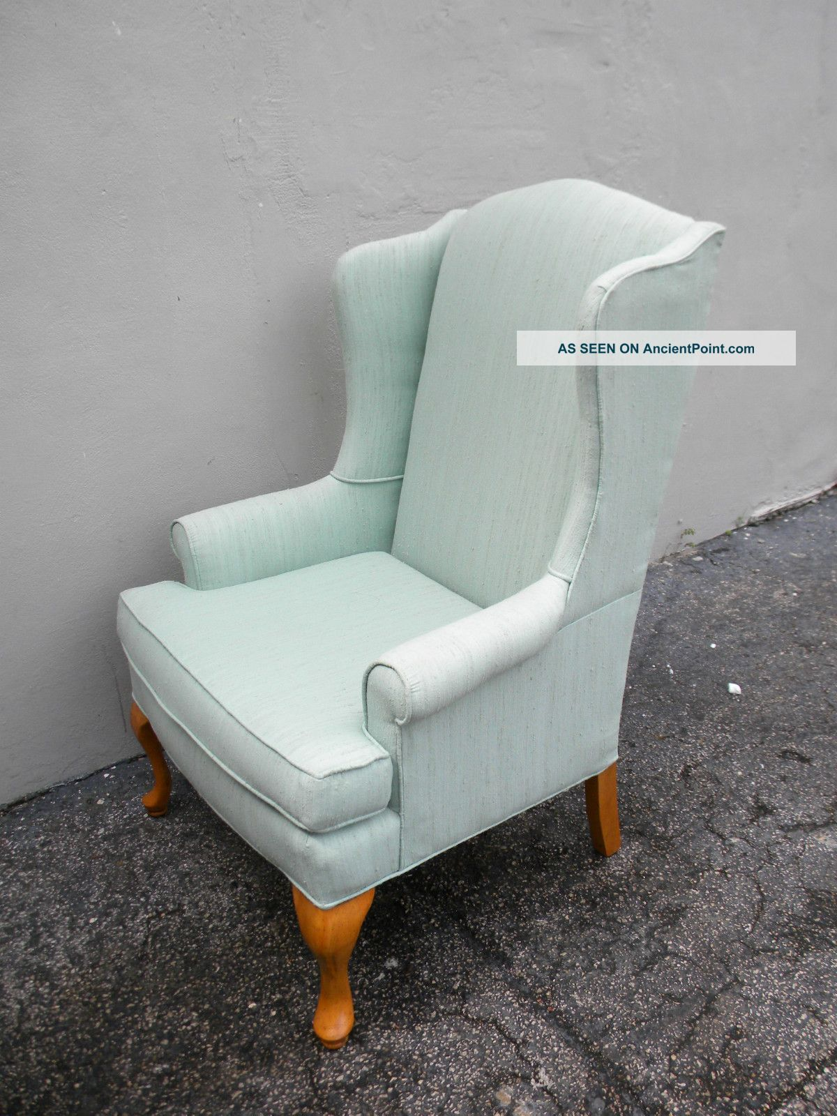 Pair of tall living room queen anne wing chairs by sam for Pair of chairs for living room
