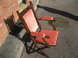 Antique Mahogany? Framed Folding Campaign Chair Condition photo