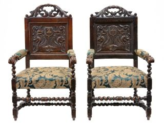 Pair Of 19th Century Antique Carved Oak Armchairs photo