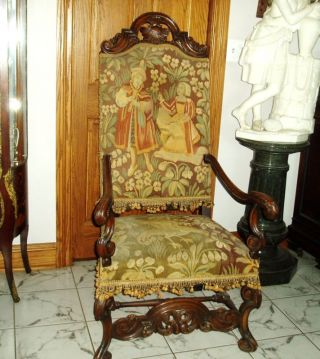 French Needlepoint And Pattitpoint Carved Chair C.  1860s photo