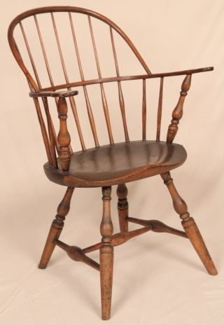 18th Century American New England Windsor Sack Back Antique Arm Chair C.  1770 photo
