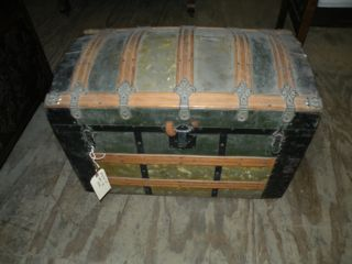 Antique Saratoga Humpback Wood Slat Metal Steamer Round Trunk photo