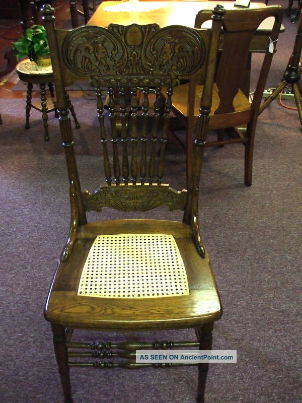 Antique Oak Chair Cane Double Devil Pressback Griffins? Made In Usa 1900-1950 photo