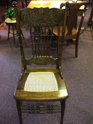 Antique Oak Chair Cane Double Devil Pressback Griffins? Made In Usa photo