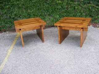 Pair Mid - Century Modern Lamp End Tables By Lane photo