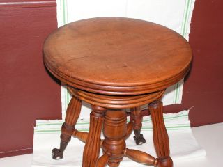 Antique Gerts (chicago) Swivel Piano Stool / Bench W/glass Ball In Claw Feet Old photo