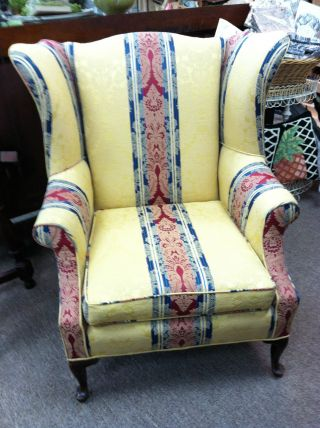 Antique/vintage Striped Wing Chair Circa 1940 - photo