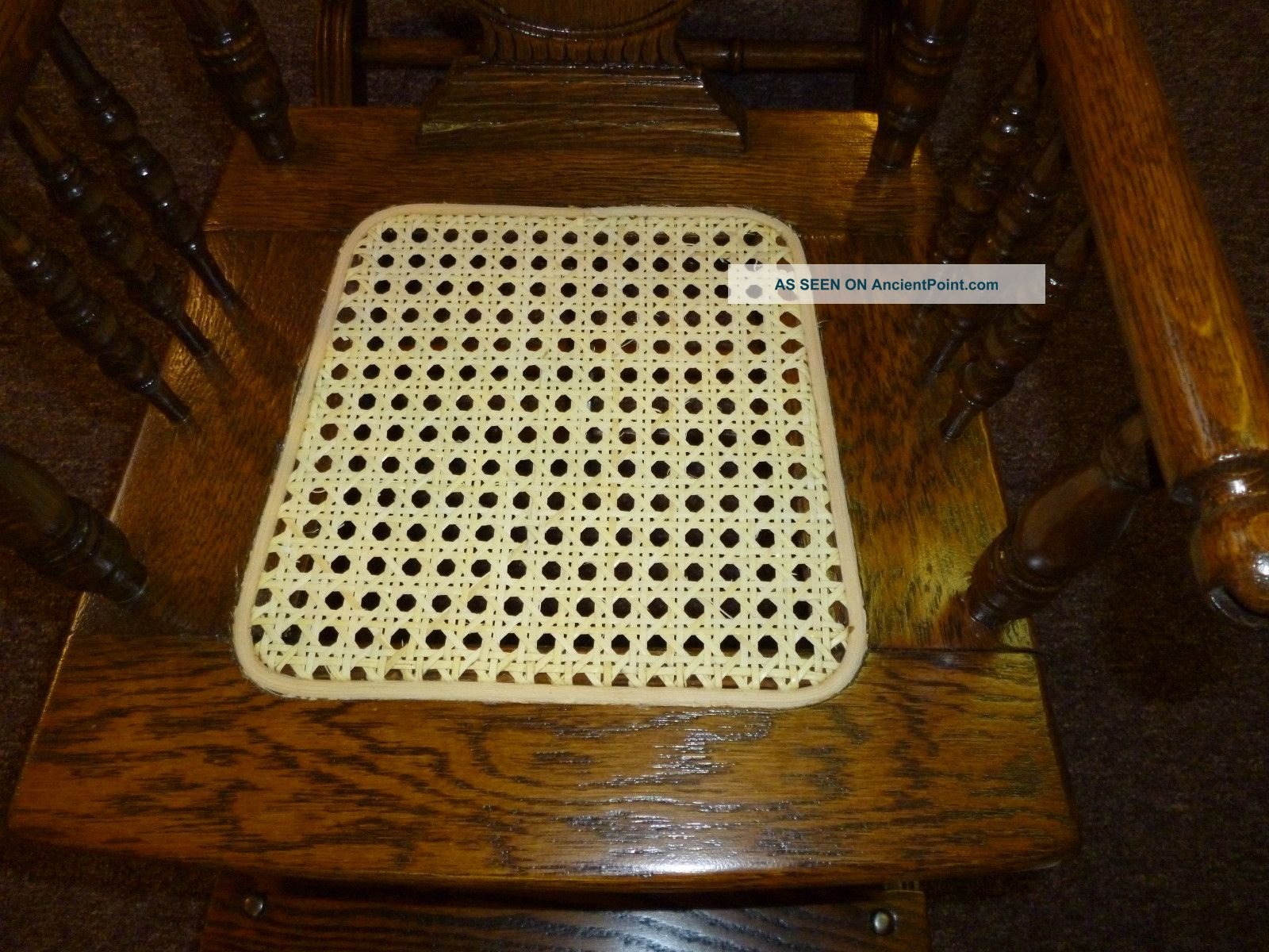 Antique Oak High Chair / Rocker Pressed Back / Cane Seat Childs Made . Full resolution  image, nominally Width 1600 Height 1200 pixels, image with #63380B.