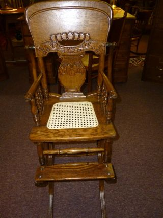 Antique Oak High Chair / Rocker Pressed Back / Cane Seat Childs Made In Usa photo