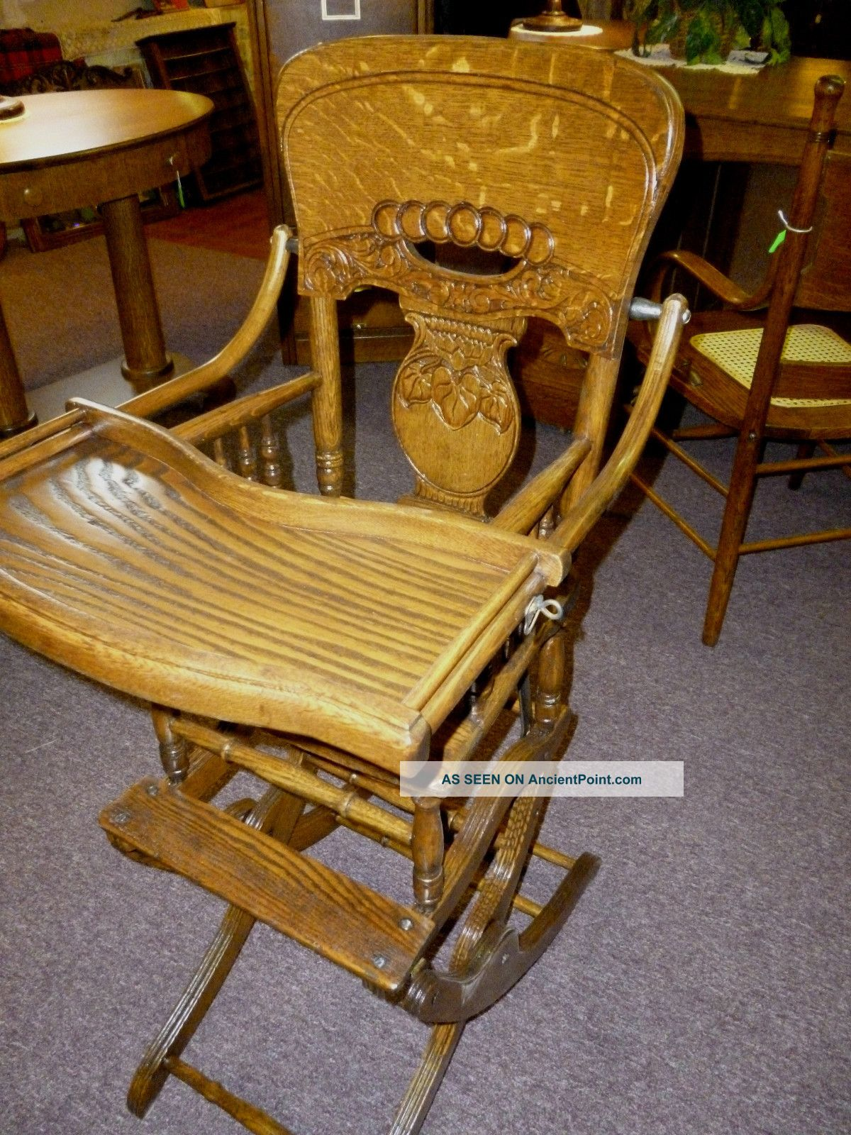 Antique Oak High Chair / Rocker Pressed Back / Cane Seat Childs Made . Full resolution  image, nominally Width 1200 Height 1600 pixels, image with #674117.