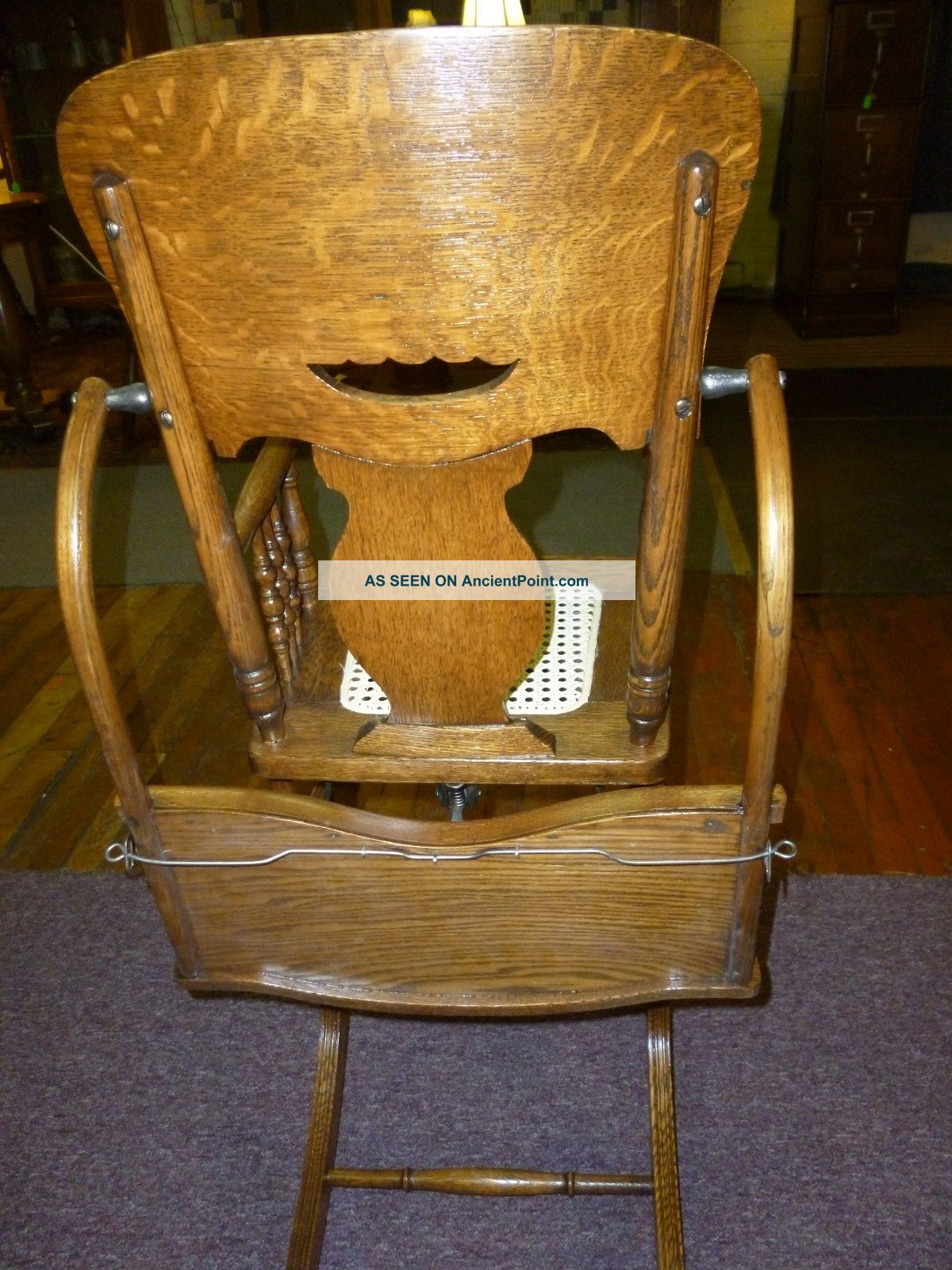 Antique Oak High Chair / Rocker Pressed Back / Cane Seat Childs Made . Full resolution  image, nominally Width 1200 Height 1600 pixels, image with #66441A.
