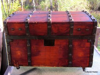 Antique Domed Topped Jenny Lind Steamer Trunk Wood Brass & Iron photo