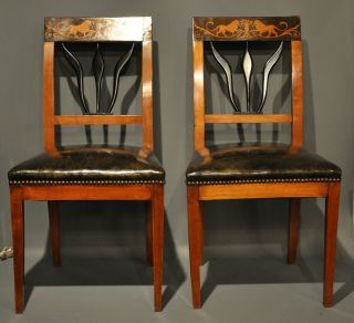 Pair Of 19th Century Chairs.  Biedermeier.  Leather Seats W Great Lion Inlay. photo