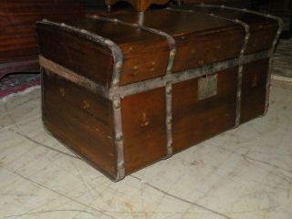 Antique Stagecoach Jenny Lind Wood Trunk With Metal Rivets And Bands 1800 ' S photo