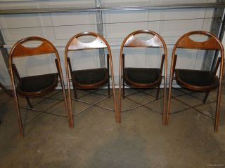 Set Of 4 Vintage Wood & Cast Iron Art Deco Folding Chairs/stools Masonic Mason photo