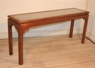 Ethan Allen Glass And Cane Top Traditional Cherry Wood Sofa Table Hall Console photo