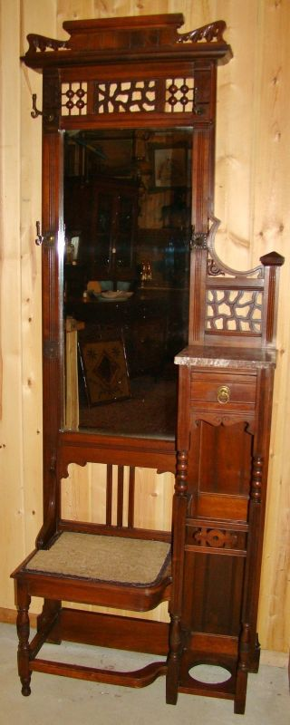1880 ' S Walnut Stick & Ball Hallseat With Marble,  Drawer,  Beveled Mirror photo