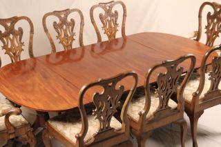 Antique Federal Hepplewhite Regency Pedestal Dining Room Table,  C.  1800,  Seats 10 photo