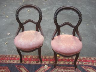 Pair Of Victorian Antique Mahogany Bow Back Chairs With Upholstered Seats 1880s photo