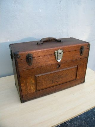 Victorian Oak Tool Box / Jewelry Box / Chest By Union 2461 photo
