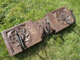 Colonial Antique Carved Wooden Coat Hook Rack Coat Hooks Wall Rack photo