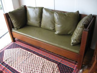 Mission Arts & Crafts Limbert Settle Sofa Oak Leather photo
