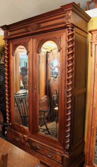 Magnificent Henry Ii French Antique Barley Twist Walnut Armoire photo