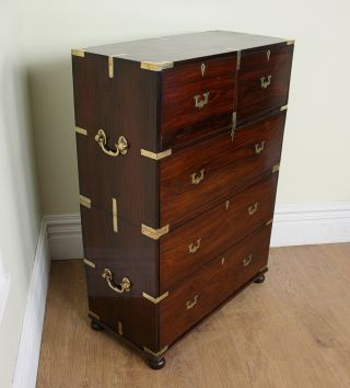 Antique Colonial Military Campaign Rosewood Chest Of Drawers Cupboard (c.  1860) photo
