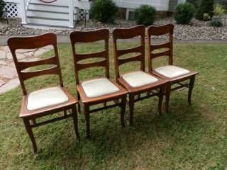 Gorgeous Set Of 4 Antique Quartersawn Oak Chairs photo