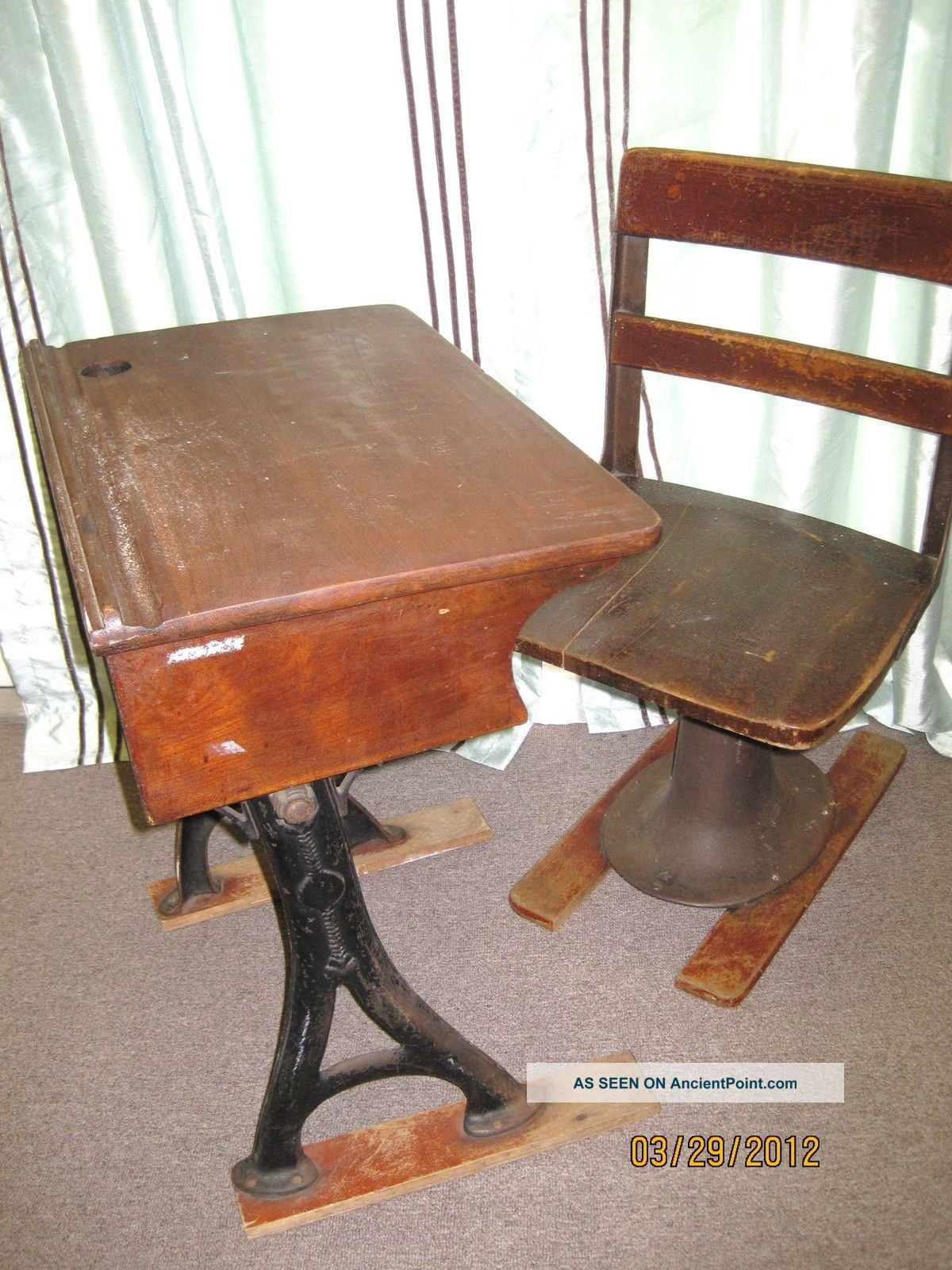 Antique Student W/ Patent Mark & Date Desk And Chair Unrestored Farm Fresh 1800-1899 photo