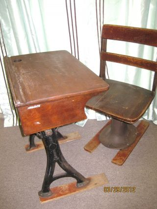 Antique Student W/ Patent Mark & Date Desk And Chair Unrestored Farm Fresh photo