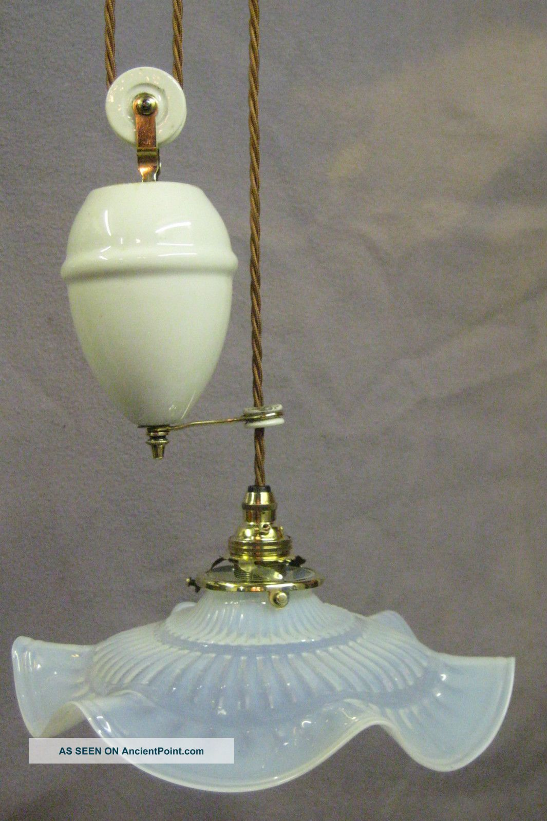 French Rise And Fall Ceiling Light With Opalescent Shade 20th Century photo