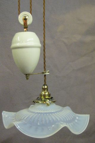 French Rise And Fall Ceiling Light With Opalescent Shade photo