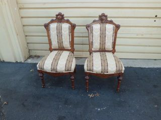 51075 Pair Antique Eastlake Victorian Carved Walnut Parlor Side Chairs photo